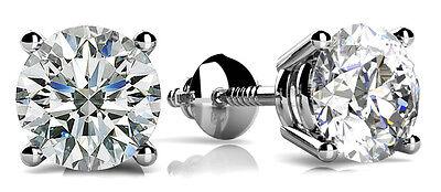 1.80 carat Round cut Diamond 14k White Gold Stud Earrings GIA I VS1 clarity 1