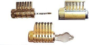 Cutaway Practice Lock Set Of 3 Locksmith Training Sales Aid Pick All Brass