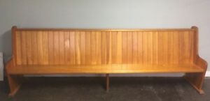 Wood bench. Church pew