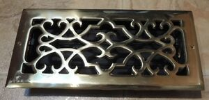 Vintage Banvil Solid Brass Decorative Hvac Register 4 x 10 Inch