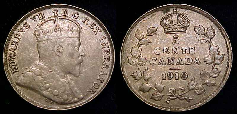 CANADA 1910 Pointed Leaves Silver Five Cents VF+ **