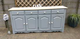 Solid Wood REFURBISHED Light Grey Sideboard Dresser