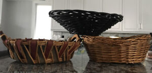 2 Large Wicker/ Wood Floor or Table Decorative Baskets