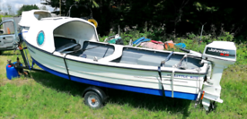 15 ft Mayland fishing boat trailer and outboard engine