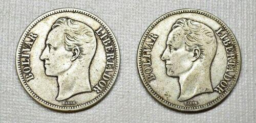 1929 Silver Coin Pair (2 COINS) Venezuela 5 Bolivares Fuerte (P1) VF+