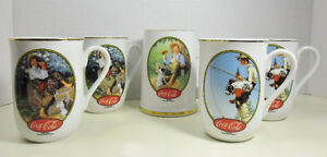 Coca-Cola Norman Rockwell Ceramic Mugs Cups Set of 5