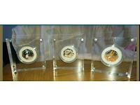 Beatrix Potter colour silver proof coins x3