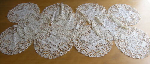 """One Antique Ancient Linen Lace Embroidery Figural Round Doily 10+"""" 11 Available"""