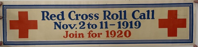 Vintage Red Cross Roll Call Sign 1919