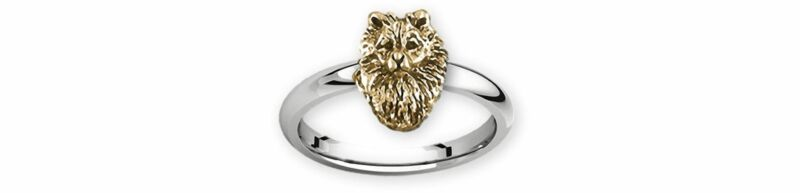 Keeshond Jewelry Silver And 14k Gold Handmade Keeshond Ring  KSH1H-TNR