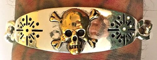 1940s 1950s Mexican Biker Skull Novelty ID Military Bracelet Vintage Rockabilly