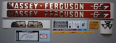 Massey-ferguson Mf 65 Mf65 Tractor Complete Decal Set