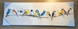 Mounted canvas with garden birds