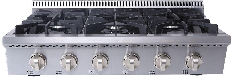 """Thor Kitchen HRT3618U 36"""" Stainless Steel 6-Burner Range Top"""