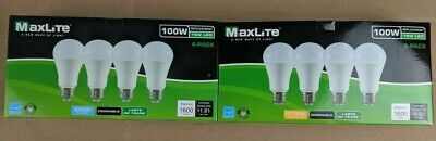 4 Pack Maxlite LED Light Bulbs 15W A19 100W Replacement Daylight or Softwhite