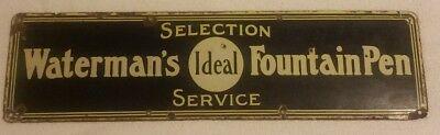 Nice antique Waterman's Ideal Fountain Pen porcelain Enamel Sign