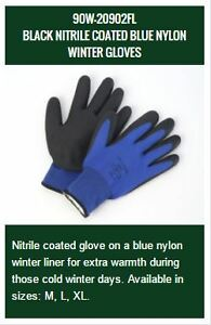 BLACK NITRILE COATED BLUE NYLON WINTER GLOVES