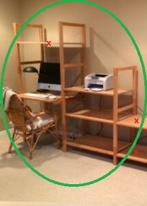 IKEA shelf and desk combination (can be reconfigured)  WOW!!