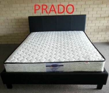 Queen Quality Innersprung Mattress & PU Bed Frame. Black Or White