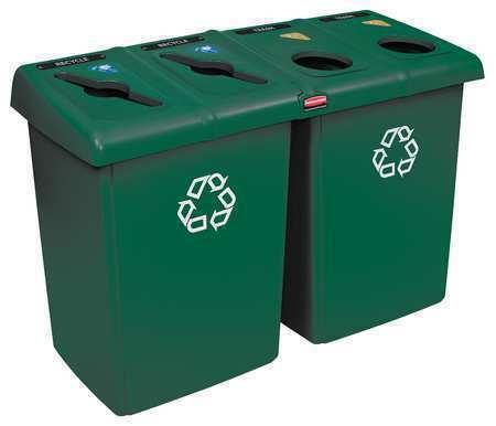 Rubbermaid 1792373 23 Gal Rectangular Polyethylene Recycling Bin , Green
