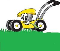 Lawn mowing and landscaping services.