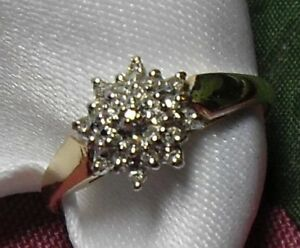 "10k yellow gold ""Diamond Star Cluster"" Engagement Ring/Sz 8"