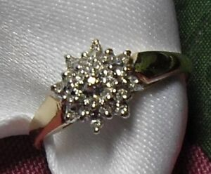 "10kt yellow gold ""Diamond Star Cluster"" Engagement Ring"