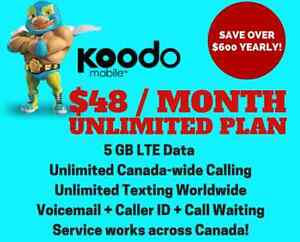 $48/mo - 5 GB Data, Unlimited Talk 'n Text Cell Plan Koodo
