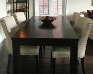 Wood Table with 4 Beige Faux Leather Chairs
