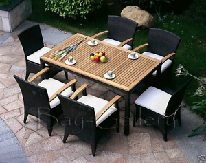 7 piece outdoor wicker and timber dining set Earlwood Canterbury Area Preview