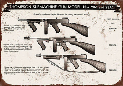 Metal Tin Sign thompson submachine gun Home Vintage Retro Poster Cafe ART - Metal Home Cafe Signs