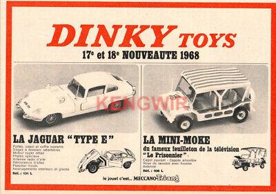 PUB / PUBLICITE AD DINKY TOYS  Mini-Moke  Jaguar type E  Vintage Année 1968