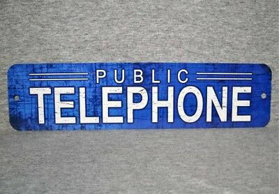 Metal Sign TELEPHONE public pay vintage replica phone booth blue aged look cool
