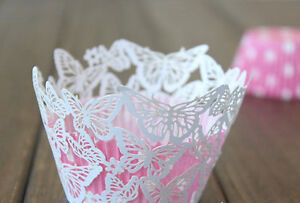50x White butterfly laser cut cupcake wrapper wedding party decoration favours