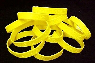 (Yellow Awareness Bracelets 12 Piece Lot Silicone Wristband Cancer Cause 8