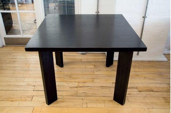 Two Black Stained Wooden Tablesin West End, LondonGumtree - Black stained wooden square tables x 2 Used by a design studio but in good condition. Minor scratches and nicks as pictured Dimensions are Depth 100cm Width 100cm Height 72cm Ideal for home or office use Collection only from W1T