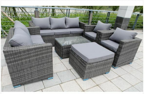Garden Furniture 8 yakoe 8-seater rattan wicker garden furniture conservatory sofa