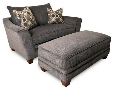 Franklin Furniture - Abbott Chair-and-a-half and Ottoman Set In Pewter - 811-C+O ()