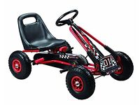 """Kids pedal go-kart ride-on car, adjustable seat, rubber wheels, red"""