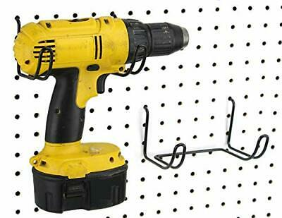 Pegboard Drill Holder Black Steel Hooks Peg Board Organization Accessory 2 Pack