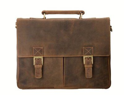 Visconti 18716 Genuine Leather Briefcase Case Bag Shoulder Large Tan Lock Key