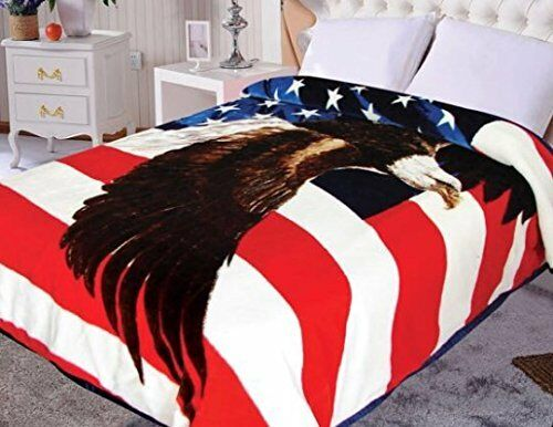 Hiyoko American Eagle Flag Mink Blanket Throw Bedspread Comf