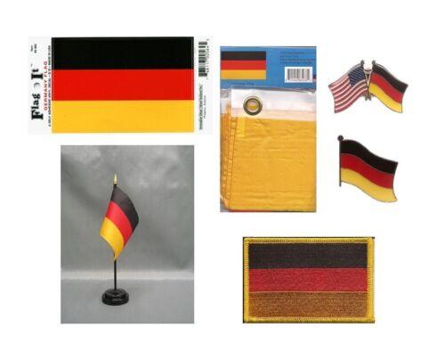 Germany Heritage Flag Pack - German 3x5 Flag, 2 Lapel Pins, Vinyl Decal