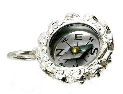 STERLING SILVER ORNATE SAPPHIRE SET COMPASS FOB CHARM