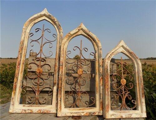 Set 3 Gothic Teardrop Architectural Wood Metal Window Frame, Farmhouse Decor
