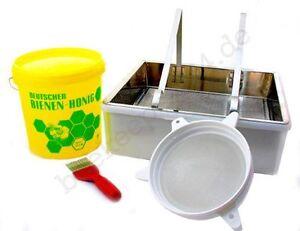 Honigernte-Set, Entdeckelungsgeschirr, -gabel, Honig-Sieb, Honig-Eimer