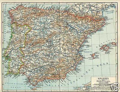 SPANIEN PORTUGAL Mallorca Granada LANDKARTE von 1897 Pyrenäen Balearen