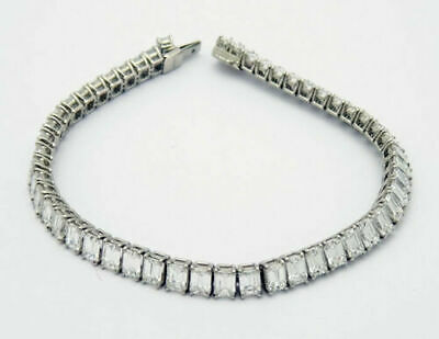 Mens 14k White Gold Over 1 Row Emerald-Cut Diamond Prong Link Tennis Bracelet 8