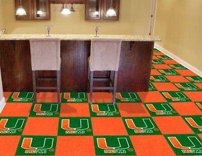 NCAA Miami Hurricanes Carpet tiles Mancave must have Fanmats USA QUICK SHIP