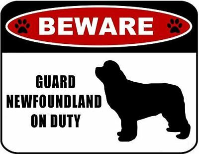 Beware Guard Newfoundland (silhouette) on Duty Laminated Dog Sign